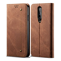 Cloth Case Stands Flip Cover H01 for OnePlus 8 Brown