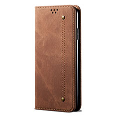 Cloth Case Stands Flip Cover L01 for Huawei P Smart (2020) Brown