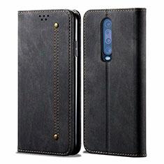 Cloth Case Stands Flip Cover L02 for Xiaomi Redmi K30 5G Black
