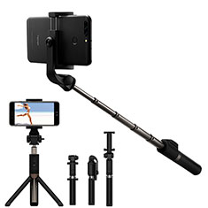Extendable Folding Handheld Selfie Stick Tripod Bluetooth Remote Shutter Universal S23 for Apple iPhone X Black