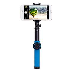 Extendable Folding Handheld Selfie Stick Tripod Bluetooth Remote Shutter Universal T21 for Apple iPhone X Blue