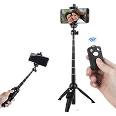 Extendable Folding Handheld Selfie Stick Tripod Bluetooth Remote Shutter Universal T24 Black