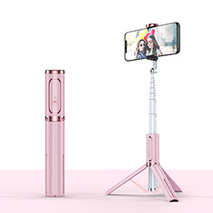 Extendable Folding Handheld Selfie Stick Tripod Bluetooth Remote Shutter Universal T26 Rose Gold