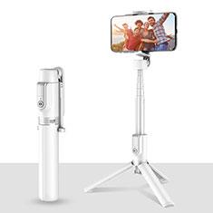 Extendable Folding Handheld Selfie Stick Tripod Bluetooth Remote Shutter Universal T28 for Xiaomi Redmi 9 Prime India White