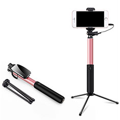 Extendable Folding Wired Handheld Selfie Stick Universal T35 for Apple iPhone X Pink