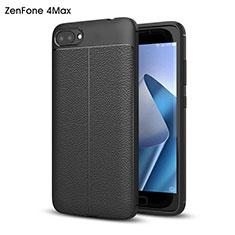 Hard Rigid Plastic Leather Snap On Case for Asus Zenfone 4 Max ZC554KL Black