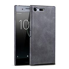 Hard Rigid Plastic Leather Snap On Case for Sony Xperia XZ Premium Black
