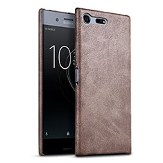 Hard Rigid Plastic Leather Snap On Case for Sony Xperia XZ Premium Brown