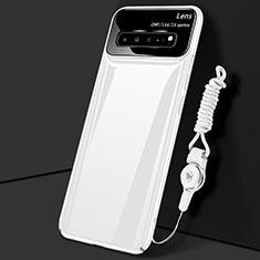 Hard Rigid Plastic Matte Finish Case Back Cover M01 for Samsung Galaxy S10 5G SM-G977B White