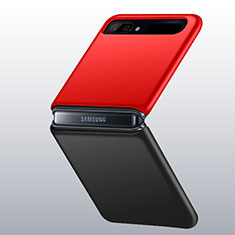 Hard Rigid Plastic Matte Finish Case Back Cover M01 for Samsung Galaxy Z Flip 5G Red and Black