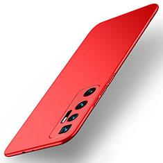 Hard Rigid Plastic Matte Finish Case Back Cover M01 for Xiaomi Mi 10 Ultra Red