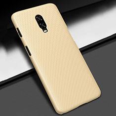 Hard Rigid Plastic Matte Finish Case Back Cover M02 for OnePlus 6T Gold