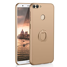 Hard Rigid Plastic Matte Finish Case Cover with Finger Ring Stand A01 for Huawei Enjoy 7S Gold