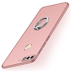Hard Rigid Plastic Matte Finish Case Cover with Finger Ring Stand A02 for Huawei Enjoy 8 Rose Gold
