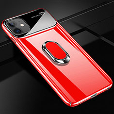 Hard Rigid Plastic Matte Finish Case Cover with Magnetic Finger Ring Stand A01 for Apple iPhone 12 Mini Red