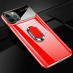 Hard Rigid Plastic Matte Finish Case Cover with Magnetic Finger Ring Stand A01 for Apple iPhone 12 Pro Max Red