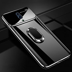 Hard Rigid Plastic Matte Finish Case Cover with Magnetic Finger Ring Stand A01 for Realme X Black