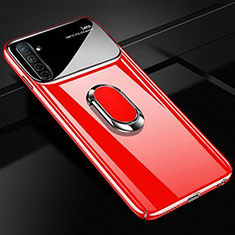 Hard Rigid Plastic Matte Finish Case Cover with Magnetic Finger Ring Stand A01 for Realme X2 Red