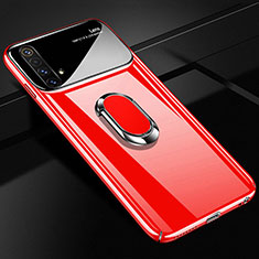 Hard Rigid Plastic Matte Finish Case Cover with Magnetic Finger Ring Stand A01 for Realme X3 SuperZoom Red