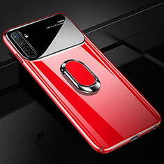 Hard Rigid Plastic Matte Finish Case Cover with Magnetic Finger Ring Stand A01 for Realme X50 Pro 5G Red