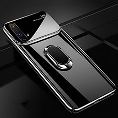 Hard Rigid Plastic Matte Finish Case Cover with Magnetic Finger Ring Stand A01 for Realme X50m 5G Black