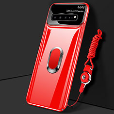 Hard Rigid Plastic Matte Finish Case Cover with Magnetic Finger Ring Stand A01 for Samsung Galaxy S10 5G SM-G977B Red