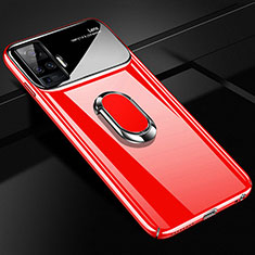 Hard Rigid Plastic Matte Finish Case Cover with Magnetic Finger Ring Stand A01 for Vivo X50 Pro 5G Red
