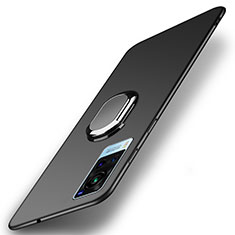 Hard Rigid Plastic Matte Finish Case Cover with Magnetic Finger Ring Stand A01 for Vivo X60 5G Black
