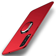 Hard Rigid Plastic Matte Finish Case Cover with Magnetic Finger Ring Stand A01 for Vivo Y20s Red