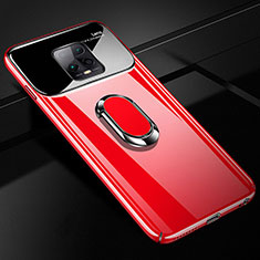Hard Rigid Plastic Matte Finish Case Cover with Magnetic Finger Ring Stand A01 for Xiaomi Redmi 10X Pro 5G Red