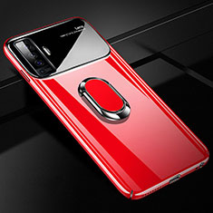 Hard Rigid Plastic Matte Finish Case Cover with Magnetic Finger Ring Stand A02 for Vivo X50 5G Red