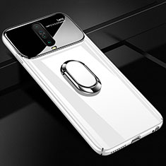 Hard Rigid Plastic Matte Finish Case Cover with Magnetic Finger Ring Stand A02 for Xiaomi Redmi K30 5G White