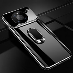 Hard Rigid Plastic Matte Finish Case Cover with Magnetic Finger Ring Stand K01 for Huawei Mate 40 Pro Black