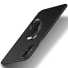 Hard Rigid Plastic Matte Finish Case Cover with Magnetic Finger Ring Stand P01 for Oppo Find X2 Neo Black