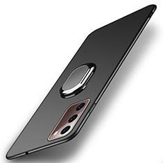 Hard Rigid Plastic Matte Finish Case Cover with Magnetic Finger Ring Stand P01 for Samsung Galaxy Note 20 5G Black