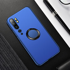Hard Rigid Plastic Matte Finish Case Cover with Magnetic Finger Ring Stand P01 for Xiaomi Mi Note 10 Pro Blue