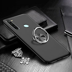 Hard Rigid Plastic Matte Finish Case Cover with Magnetic Finger Ring Stand P01 for Xiaomi Redmi Note 8 Black