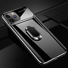 Hard Rigid Plastic Matte Finish Case Cover with Magnetic Finger Ring Stand P02 for Apple iPhone 11 Pro Black