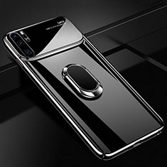 Hard Rigid Plastic Matte Finish Case Cover with Magnetic Finger Ring Stand P02 for Huawei P30 Pro Black