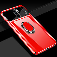 Hard Rigid Plastic Matte Finish Case Cover with Magnetic Finger Ring Stand P02 for Xiaomi Redmi Note 8 Pro Red