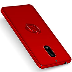 Hard Rigid Plastic Matte Finish Cover with Finger Ring Stand for Nokia 6 Red