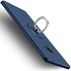 Hard Rigid Plastic Matte Finish Cover with Finger Ring Stand for Xiaomi Mi Note 2 Blue