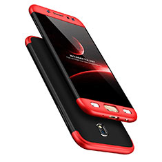 Hard Rigid Plastic Matte Finish Front and Back Case 360 Degrees for Samsung Galaxy J7 Pro Red and Black
