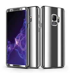 Hard Rigid Plastic Matte Finish Front and Back Case Cover 360 Degrees for Samsung Galaxy S9 Silver