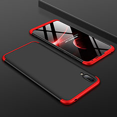 Hard Rigid Plastic Matte Finish Front and Back Cover Case 360 Degrees for Huawei Enjoy 9 Red and Black