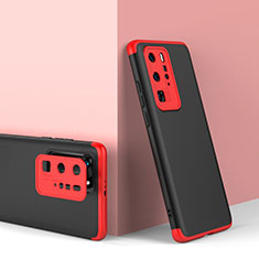 Hard Rigid Plastic Matte Finish Front and Back Cover Case 360 Degrees for Huawei P40 Pro Red and Black