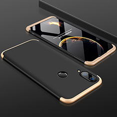 Hard Rigid Plastic Matte Finish Front and Back Cover Case 360 Degrees for Huawei Y9 (2019) Gold and Black
