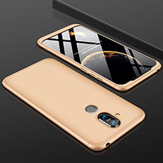 Hard Rigid Plastic Matte Finish Front and Back Cover Case 360 Degrees for Nokia 7.1 Plus Gold