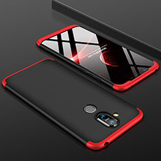 Hard Rigid Plastic Matte Finish Front and Back Cover Case 360 Degrees for Nokia 7.1 Plus Red and Black