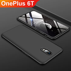 Hard Rigid Plastic Matte Finish Front and Back Cover Case 360 Degrees for OnePlus 6T Black